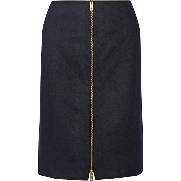 rag & bone - Mazy Wool-blend Pencil Skirt (785 RON) ❤ liked on Polyvore featuring skirts, midnight blue, pencil skirts, rag bone skirt, zipper skirt, wool blend skirt and zipper pencil skirt