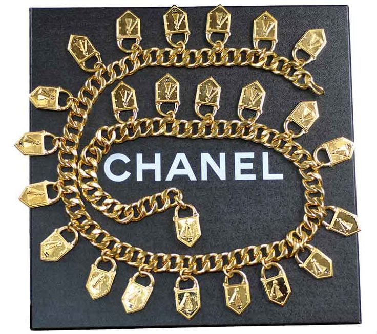Chanel Padlock Necklace Belt Chunky CC Emblem Logo Locket Charm Chain Vintage with BOX by KeiheartLuxVintage on Etsy https://www.etsy.com/listing/268879515/chanel-padlock-necklace-belt-chunky-cc