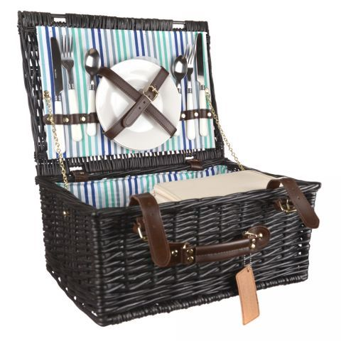PICNIC BASKET Black Willow Green/Blue Stripe 2p | Wheel&Barrow
