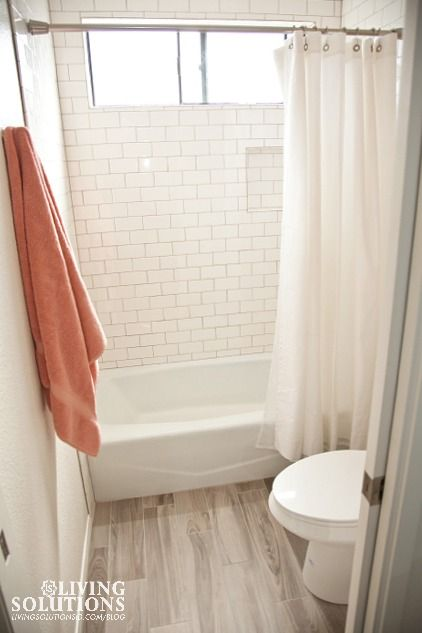 Wood Plank Tile Floor And White Subway Tile With Gray