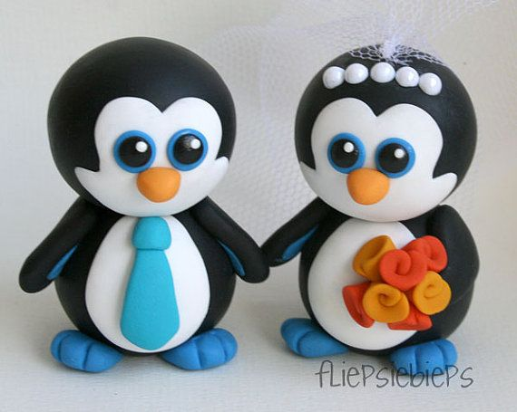 Custom Penguin Wedding Cake Toppers by fliepsiebieps on Etsy