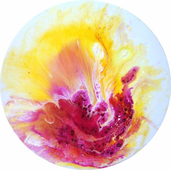 Yellow orchid Resin Art Abstract Painting round by AntuanELLE