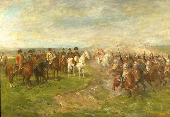 French cuirassiers cheering while charging past Napoleon at the Battle of Wagram. The Emperor committed Nansouty's heavy cavalry division, in a bid to stop the Austrian menace on his left.