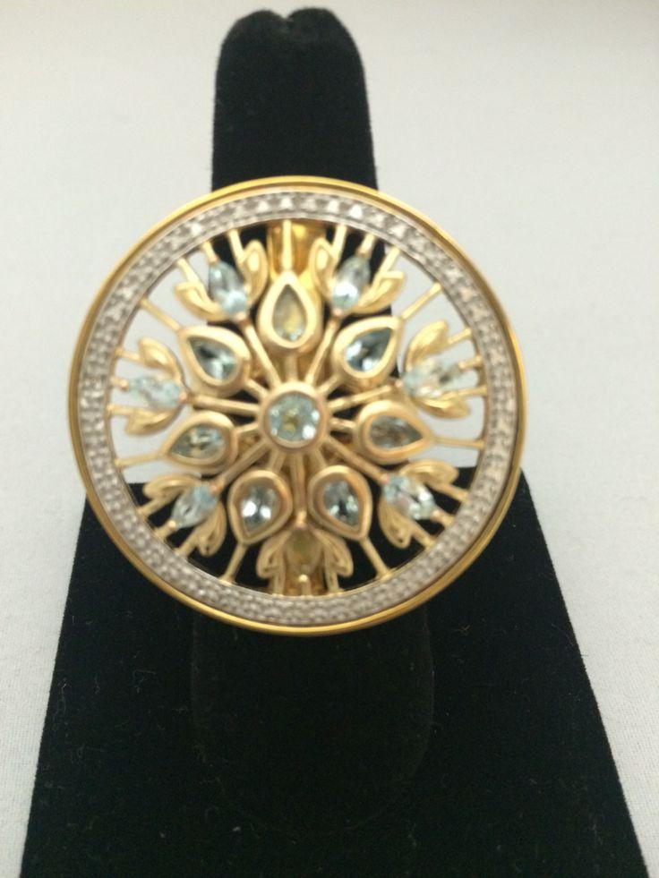 Anillo de plata con ba o de oro amarillo de 14k y topacio for Banos electroliticos para joyeria