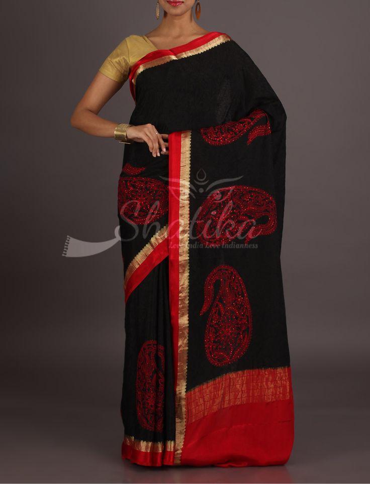 Navya Bold Black With Bold Paisleys With Lace Border Pure Mysore Chiffon Saree