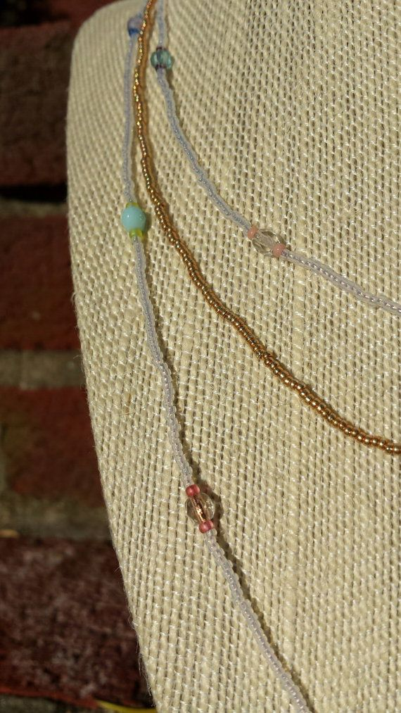 Long, delicate gold and white wrap around necklace/bracelet combo on Etsy, $15.00