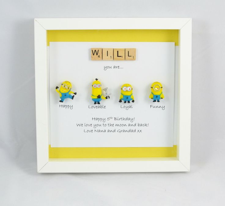 A personal favourite from my Etsy shop https://www.etsy.com/uk/listing/456536990/personalised-minions-gift-box-despicable