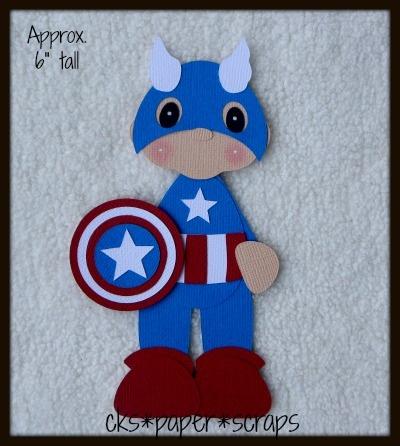 Captain America Superhero KID Scrapbook Paper Piecing