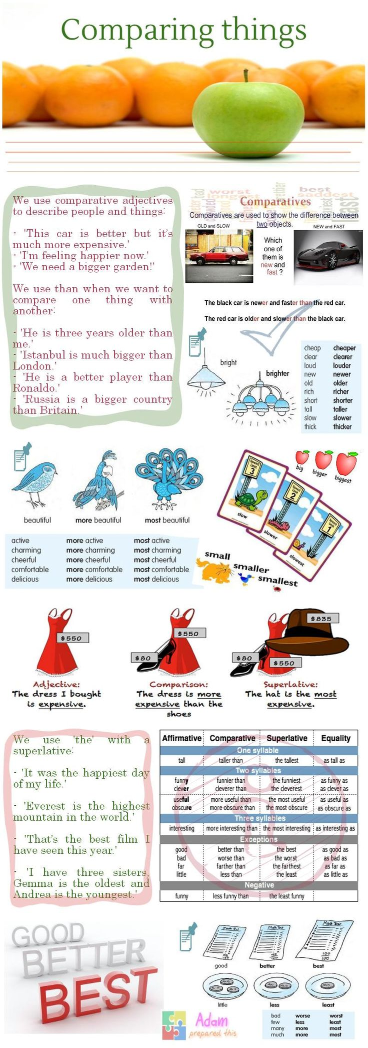 43 best comparative and superlative adjectives images on pinterest infographic comparative and superlative adjectives teach them english robcynllc Image collections