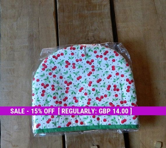 Tea Cosy, cherry fabric, Teapot cover, Handmade tea cozy, Kitchen accessory, House ware for tea, Unique gift idea, Wedding gift, Padded cosy