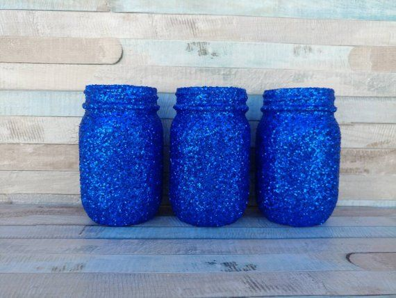 Royal Prince Baby Shower Royal Blue Mason Jar Vases Bridal Shower