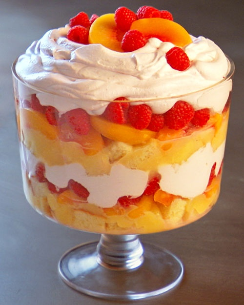 CHRISTMAS TRIFFLE   pints raspberries  1 quart heavy cream  1/2 cup granulated sugar  1 teaspoon vanilla extract  1 large or 2 small store-bought pound cakes, cut into 1 inch pieces  2 cups lemon curd  24 ounces frozen sliced peaches, thawed  Directions