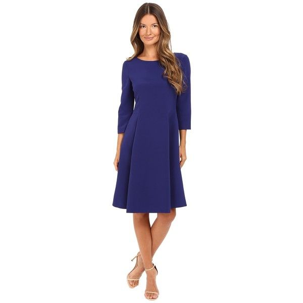 Alberta Ferretti 3/4 Sleeve Boat Neck Pleated Dress (Deep Blue)... ($1,350) ❤ liked on Polyvore featuring dresses, pleated fit and flare dress, blue fit-and-flare dresses, fit and flare dress, fit flare dress and 3/4 sleeve fit and flare dress