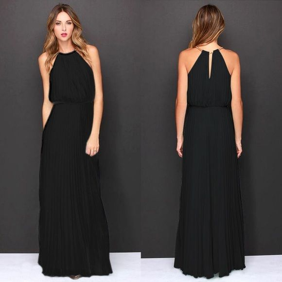 Beautiful prom dress Very simple but very cute light and flowy black prom dress with gold halter not Sheri hill Sherri Hill Dresses Maxi