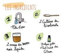 La recette du liquide vaisselle. A savoir, cette recette peut être utilisée pour laver toute la maison !
