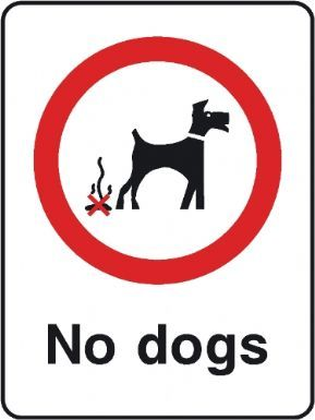 No dogs playground safety sign