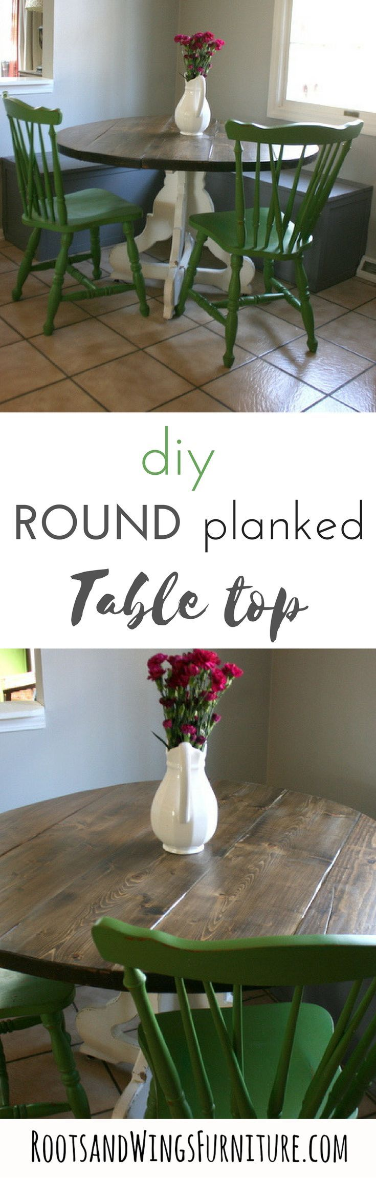 How to build a custom sized round table top.  Planked farmhouse round table top step by step instructions by Jenni of Roots and Wings Furniture.