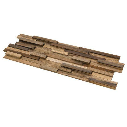 Plaquette de parement bois recyclé marron Boho  69,95€ / m²  Leroy Merlin