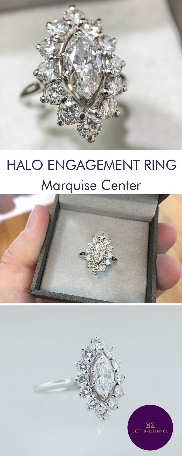 1.00 Carat D VVS2 Marquise Center diamond is mounted along with 1.20 Carat Side diamonds in a 14K White Gold Halo Style Setting on a delicate shank (Total 2.20 Carat). 30 day money back guarantee & 5 years gold warranty. Explore unique and simple diamond engagement rings for brides at https://bestbrilliance.com/popular-on-instagram/2-20-carat-d-vvs2-marquise-floral-halo-engagement-ring-14k-white-gold-99926-html.html | Weddings