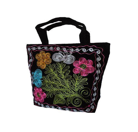 Suzani Black Velvet Bag / Silk embroidered bag / by EkatIrinaArt, €39.00
