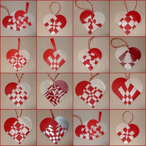 Woven Paper Christmas Hearts - Decorations