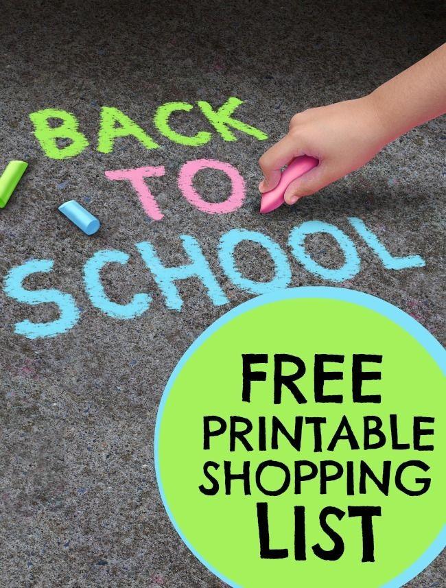 Free Back to School Printable Shopping List