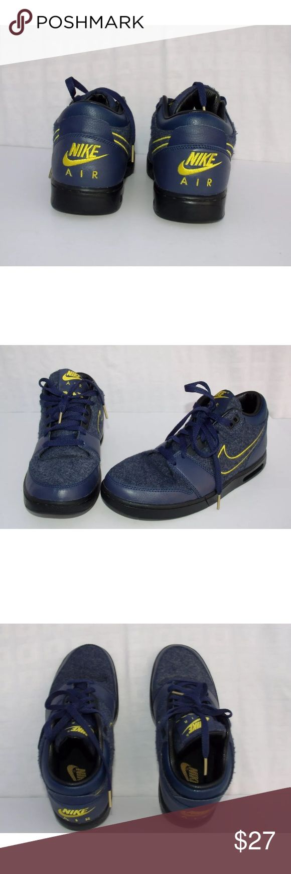 Nike Air Stepback Navy Blue Yellow  Metallic Gold Nike Men's Air Stepback Premium Michigan Colors 685150 447 Style #: 685150 447 Midnight Navy / Mid Navy / Metallic Gold / Black US Men's Size 7 Condition: Gently used shoes, worn twice by me. Small creasing in toe area-Description: The Nike Air Stepback is a retro inspired basketball silhouette from Nike Sportswear that is now  released in Michigan colorway as a nod to the Fab Five. This retro sneaker features a full Navy-based upper that is…