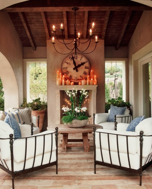 Traditional Outdoor Living Space; covered patio; outdoor fireplace.