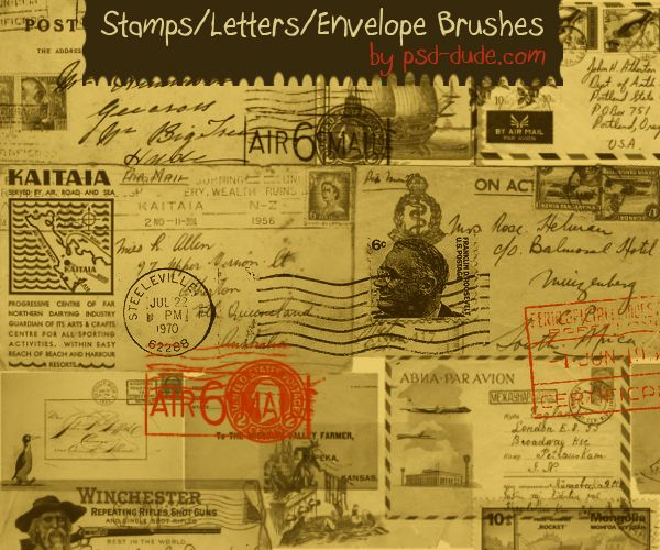 Photoshop Stamps Letters and Envelope Brushes | PSDDude