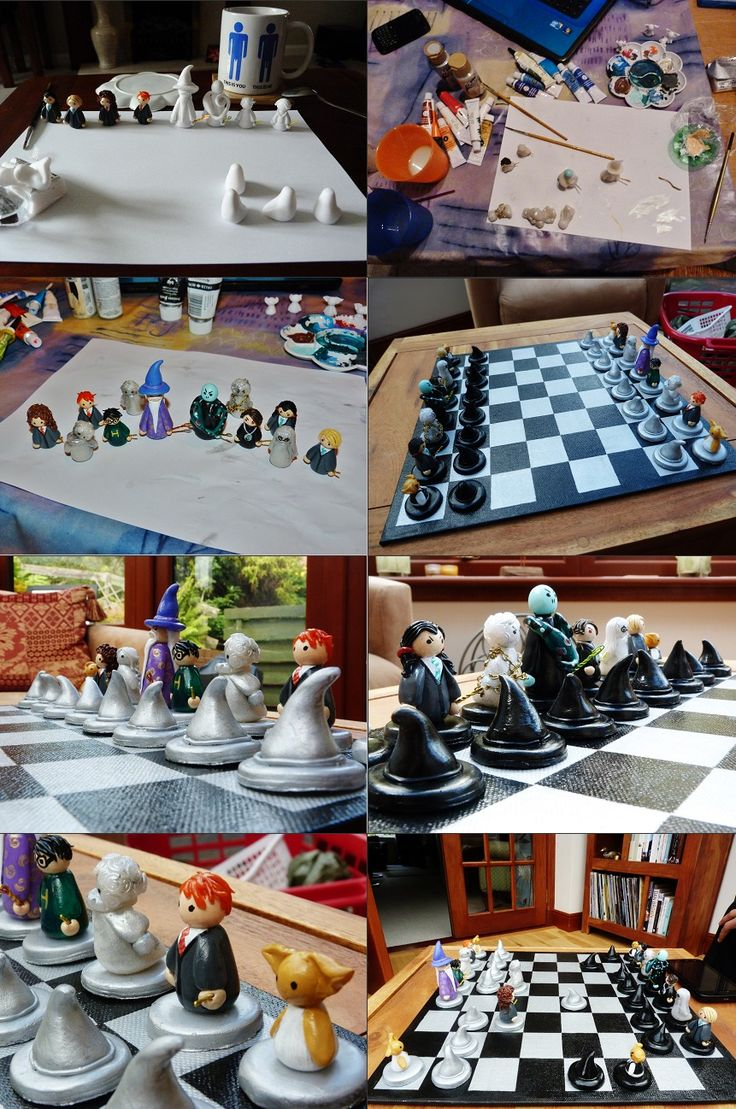 Harry Potter chess set. Fimo clay, wire, acrylic paints and canvas board (and a few jinxes thrown in of course)