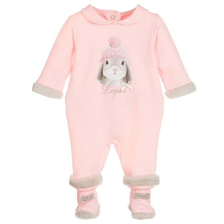 Lapin House Girls Pink Cotton Babygrow & Bootees Set at Childrensalon.com