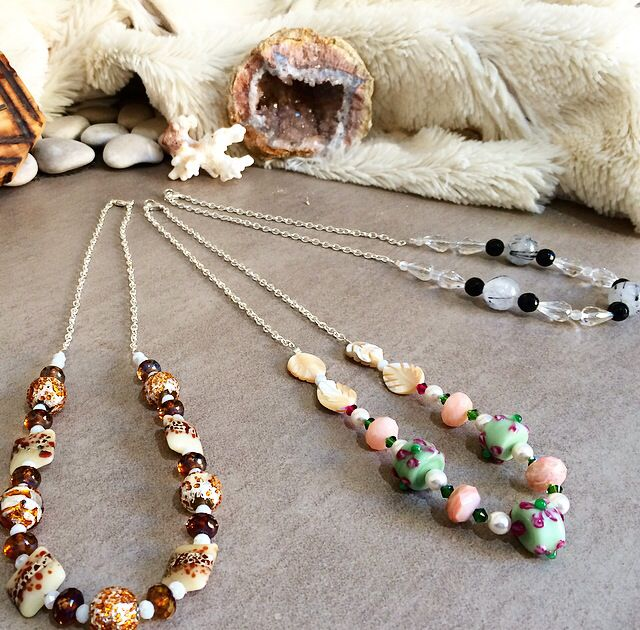 Some finished necklaces using lampwork, Czech glass and some gemstone beads #design #unique #jewellery #handmade #GGJewellery