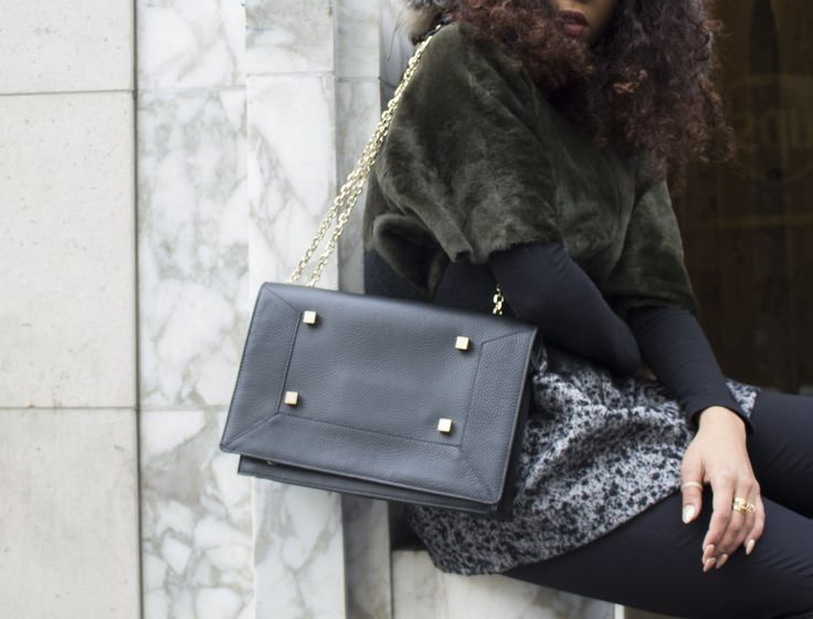 Manurina's Black Narcissus Bag and DROMe's Forest Green & Black Fur & Wool Jacket
