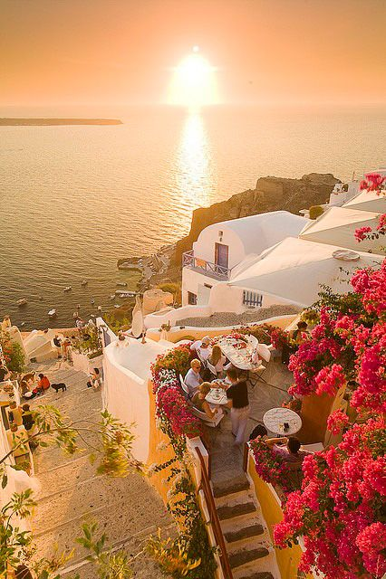 Sunset cafe in Oia, Santorini #traveltuesday http://www.yourcruisesource.com/two_chefs_culinary_cruise_-_istanbul_to_athens_greek_isles_cruise.htm