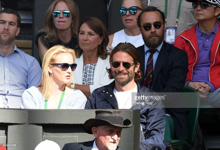 Carole Middleton, her son James Middleton and Bradley Cooper (front) attend day 11 of Wimbledon 2017 on July 14, 2017 in London, England.