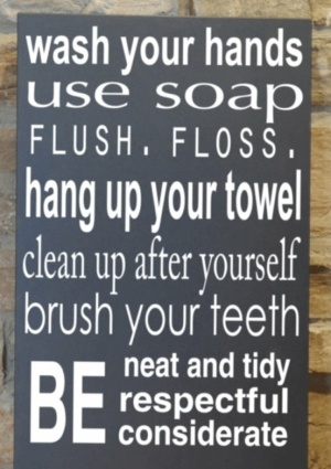 Kids bathroom do it yourself pinterest kid bathrooms for Bathroom quote signs