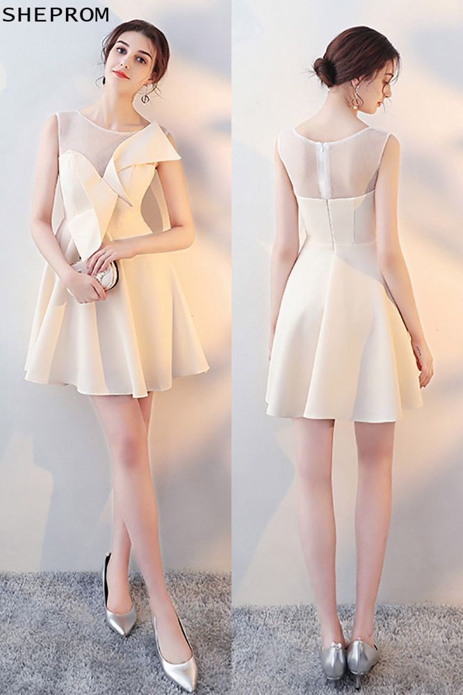 b2500f8edd7 Champagne Aline Short Homecoming Dress Sheer Neck with Wrap  HTX86014 at  SheProm.  SheProm is an online store with thousands of dresses