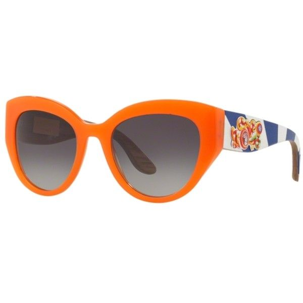 Dolce & Gabbana DG4278 Orange Sunglasses (4.915 NOK) ❤ liked on Polyvore featuring accessories, eyewear, sunglasses, heart shaped glasses, dolce gabbana eyewear, orange sunglasses, lens glasses and orange glasses