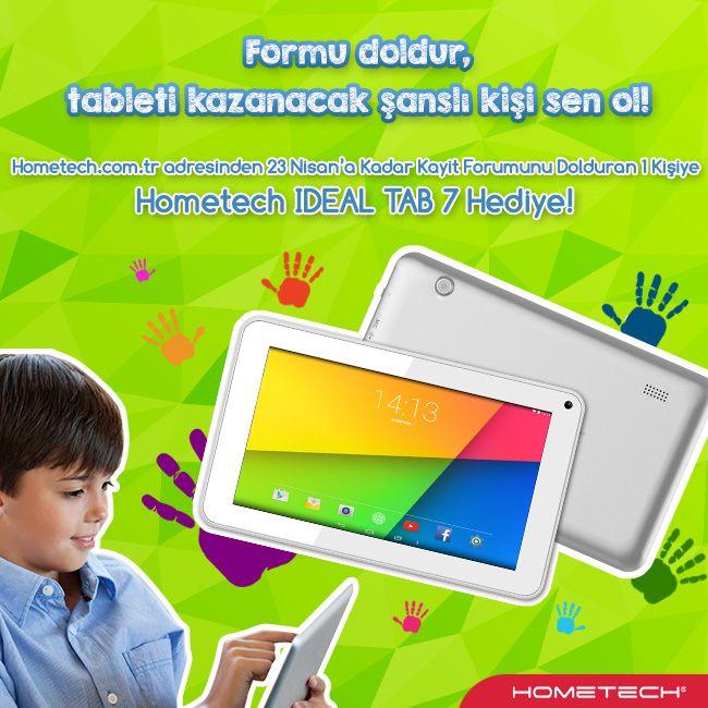 Çocuklarımızın yüzü gülsün diye 23 Nisan'a kadar çekilişe katılan 1 kişiye #Hometech Ideal Tab 7 Android tablet hediye!  Çekilişe katılmak için: http://www.hometech.com.tr/23-nisan-cekilisi