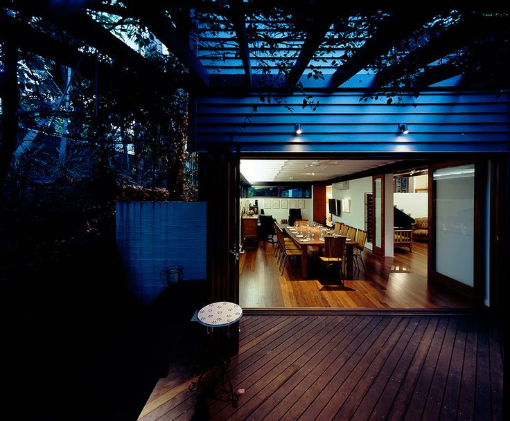 St Lucia House 1: Dining room opens onto large deck area. See more at http://blighgraham.com.au/projects/st-lucia