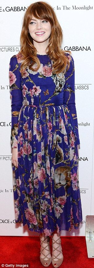 Emma Stone is striking in floral dress as she arrives at premiere #dailymail