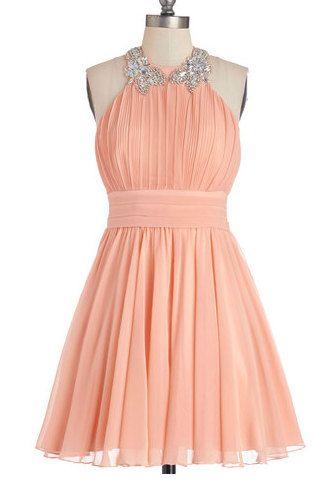 Winter formal?? Halter Beading Bridesmaid Dress Short Cute by LovingDresses, $80.00