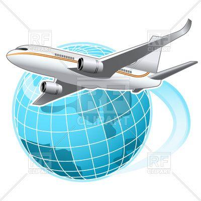 Airplane globe. Flying around the vector