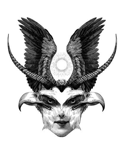 Dan Hillier. Illustrations, Black and White, Eagle, Wings, Surreal.  www.origin-of-style.com