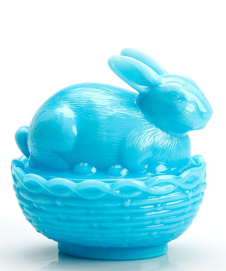 Mosser Glass Bonnie Blue Bunny & Basket Covered Dish | zulily/ memories