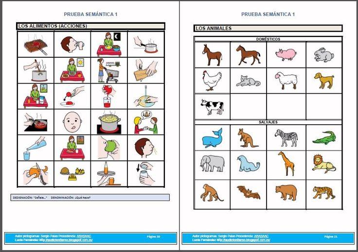 MATERIALES - PRUEBAS DE EVALUACIÓN/ENTRENAMIENTO DEL LENGUAJE ORAL - SEMÁNTICA 1: Vocabulario/campos semánticos.  http://arasaac.org/materiales.php?id_material=1019