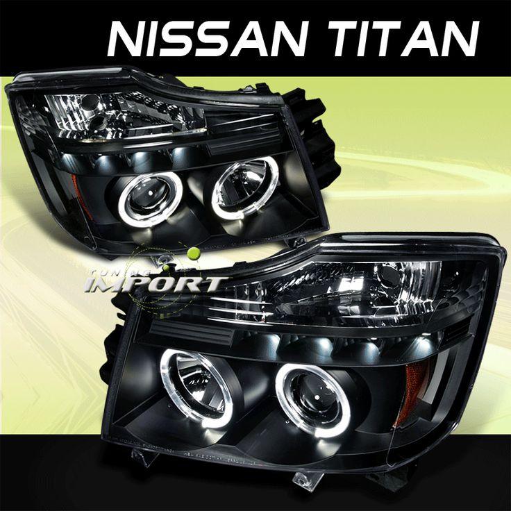 2004 2007 Nissan Titan Black LED Halo Projector Headlights Pair Driver Passenger | eBay