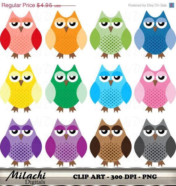 80% OFF SALE Cute Owl clipart digital clip art by MilachiDigitals