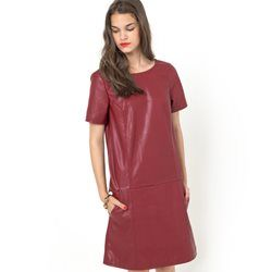 Imitation Leather Dress with V-Shaped Back Inset