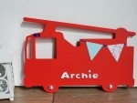£16.00 Fire Engine: Large Name Plaque. #Personalised gifts for #kids birthdays, christenings or new baby gifts.  These look fab on bedroom doors and walls and kids will just love them.